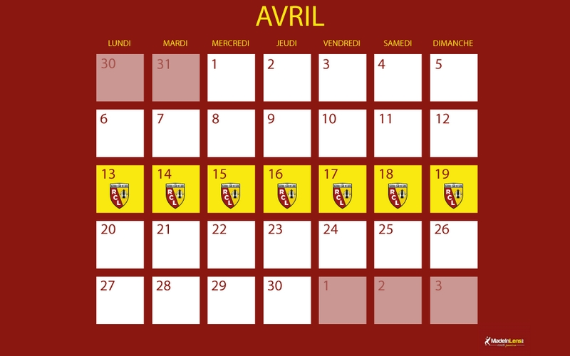 Semaine confinement alendrier mil avril