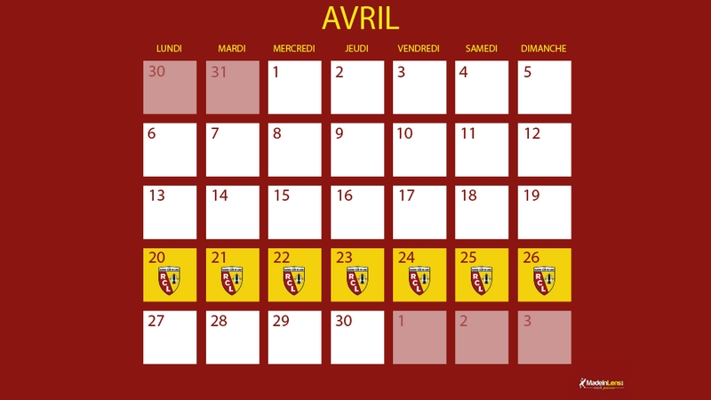 Semaine confinement calendrier mil avril 2