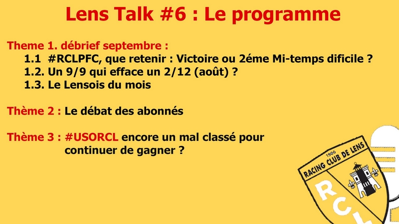 Lens Talk octobre 2